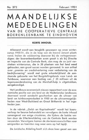 blad 'Maandelijkse Mededelingen' (CCB) 1951-02-01
