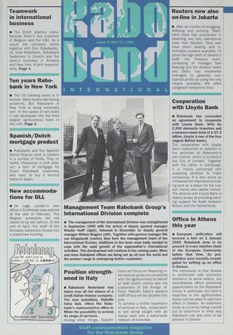 blad 'Raboband International' (EN) 1991