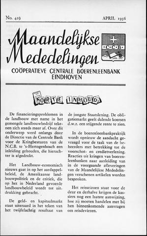 blad 'Maandelijkse Mededelingen' (CCB) 1956-04-01