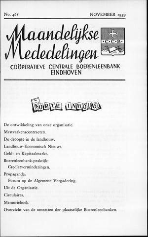 blad 'Maandelijkse Mededelingen' (CCB) 1959-11-01