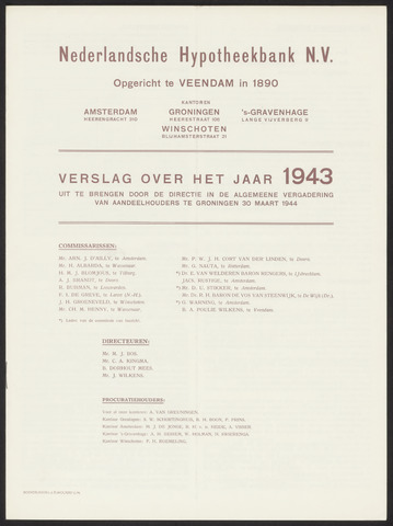 Jaarverslagen Nederlandsche Hypotheekbank 1943