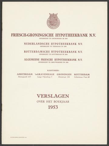 Jaarverslagen Friesch-Groningsche Hypotheekbank / FGH Bank 1953