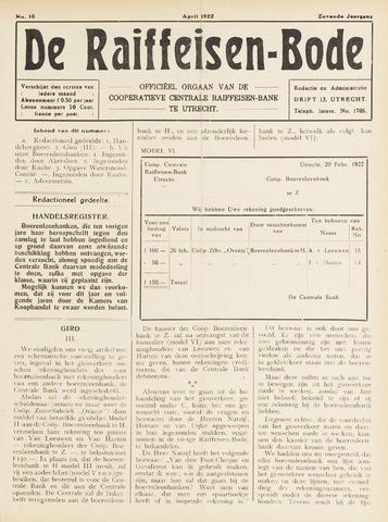 blad 'De Raiffeisen-bode' (CCRB) 1922-04-01