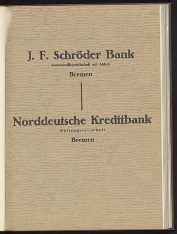 Geschäftsberichte Bankhaus Schröder 1930-01-01