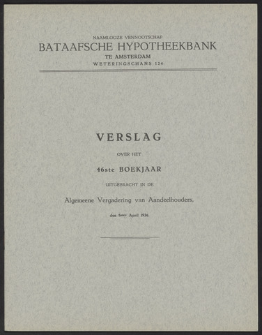 Jaarverslagen Bataafsche Hypotheekbank 1935