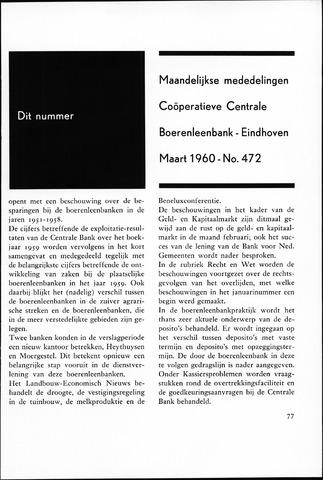 blad 'Maandelijkse Mededelingen' (CCB) 1960-03-01
