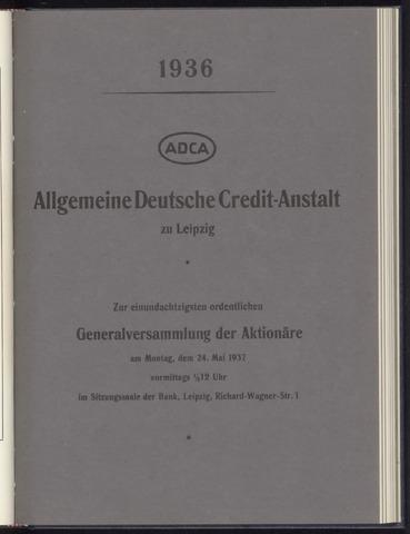 Geschäftsberichte Allgemeine Deutsche Credit-Anstalt / ADCA Bank 1936-01-01