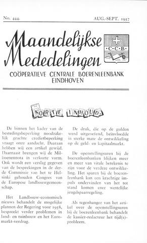 blad 'Maandelijkse Mededelingen' (CCB) 1957-08-01