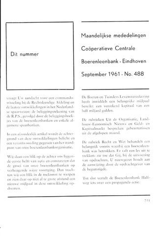 blad 'Maandelijkse Mededelingen' (CCB) 1961-09-01
