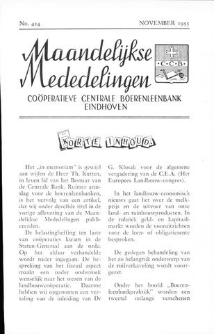 blad 'Maandelijkse Mededelingen' (CCB) 1955-11-01
