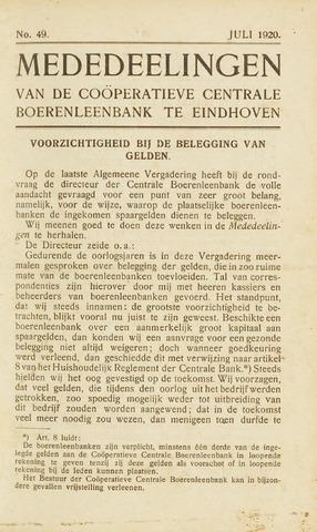 blad 'Maandelijkse Mededelingen' (CCB) 1920-07-01