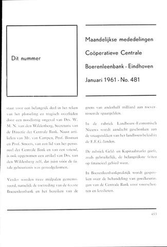 blad 'Maandelijkse Mededelingen' (CCB) 1961-01-01