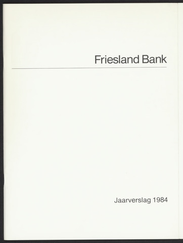 Jaarverslagen Friesland Bank 1984