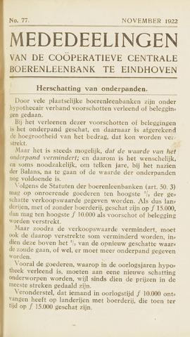 blad 'Maandelijkse Mededelingen' (CCB) 1922-11-01