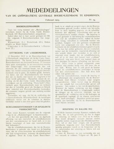 blad 'Mededeelingen' (CCB) 1913
