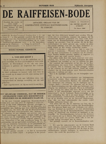 blad 'De Raiffeisen-bode' (CCRB) 1929-10-01