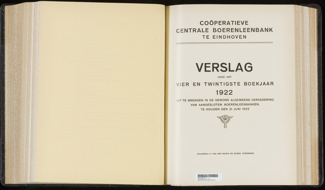 Jaarverslagen Coöperatieve Centrale Boerenleenbank 1922