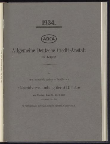 Geschäftsberichte Allgemeine Deutsche Credit-Anstalt / ADCA Bank 1934-01-01