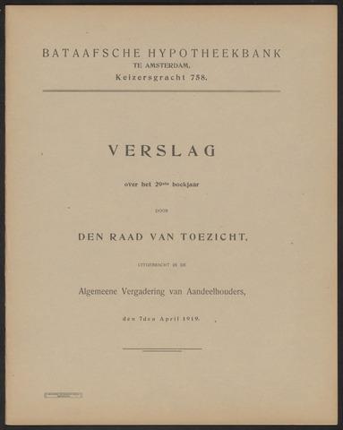 Jaarverslagen Bataafsche Hypotheekbank 1918