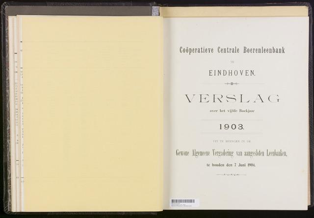 Jaarverslagen Coöperatieve Centrale Boerenleenbank 1903-12-31