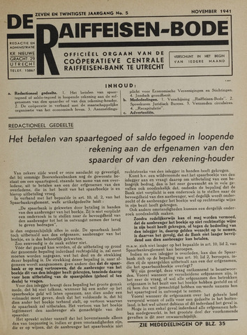 blad 'De Raiffeisen-bode' (CCRB) 1941-11-01