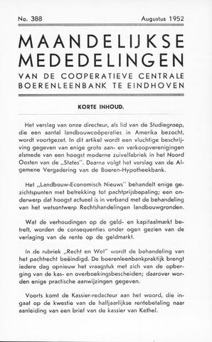 blad 'Maandelijkse Mededelingen' (CCB) 1952-08-01