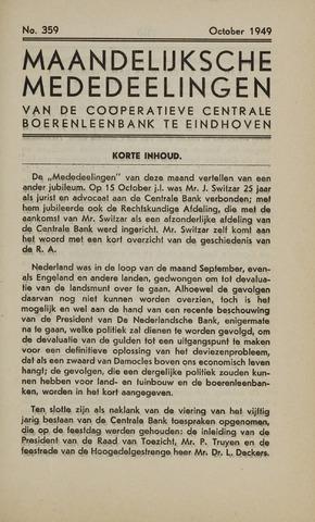 blad 'Maandelijkse Mededelingen' (CCB) 1949-10-01