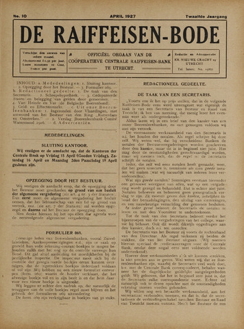 blad 'De Raiffeisen-bode' (CCRB) 1927-04-01