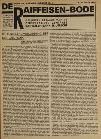 blad 'De Raiffeisen-bode' (CCRB) 1946-12-01