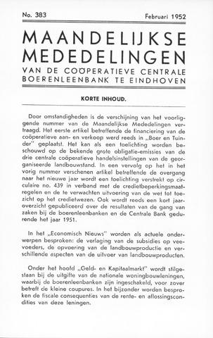 blad 'Maandelijkse Mededelingen' (CCB) 1952-02-01