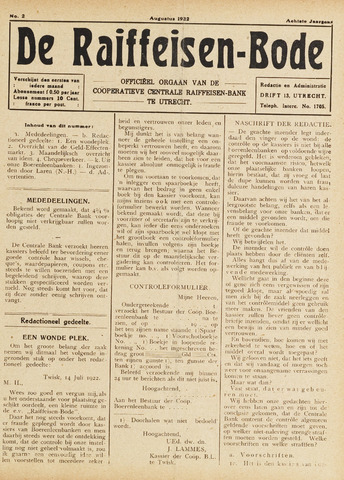 blad 'De Raiffeisen-bode' (CCRB) 1922-08-01