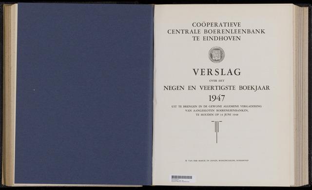 Jaarverslagen Coöperatieve Centrale Boerenleenbank 1947