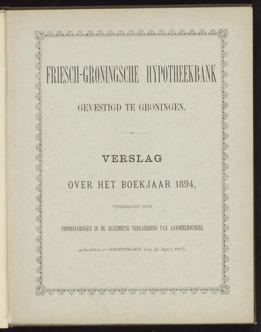 Jaarverslagen Friesch-Groningsche Hypotheekbank / FGH Bank 1894