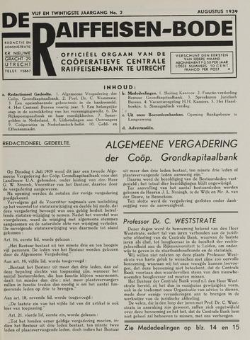 blad 'De Raiffeisen-bode' (CCRB) 1939-08-01