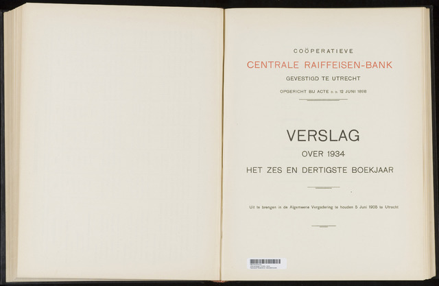 Jaarverslagen Coöperatieve Centrale Raiffeisen-Bank 1934-12-31