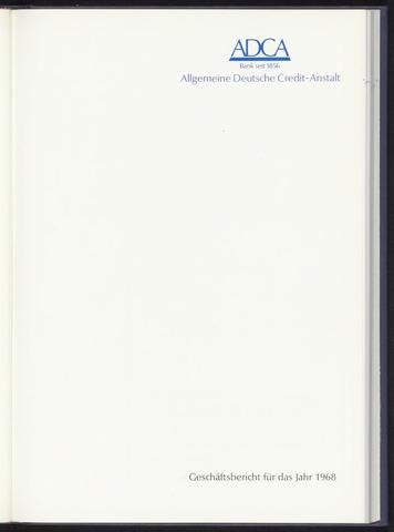 Geschäftsberichte Allgemeine Deutsche Credit-Anstalt / ADCA Bank 1968-01-01