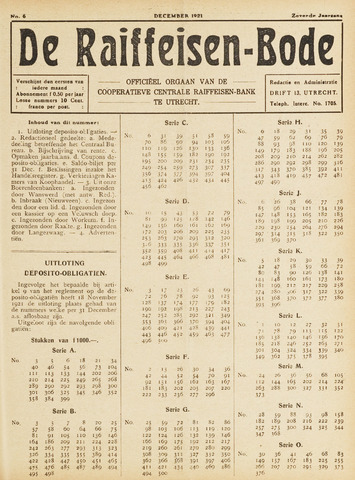 blad 'De Raiffeisen-bode' (CCRB) 1921-12-01