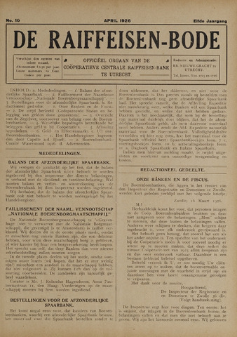 blad 'De Raiffeisen-bode' (CCRB) 1926-04-01