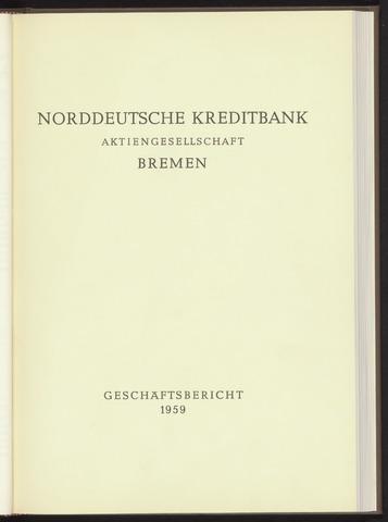 Geschäftsberichte Norddeutsche Kreditbank 1959-01-01