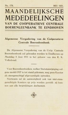 blad 'Maandelijkse Mededelingen' (CCB) 1931-05-01