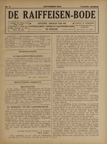 blad 'De Raiffeisen-bode' (CCRB) 1926-09-01