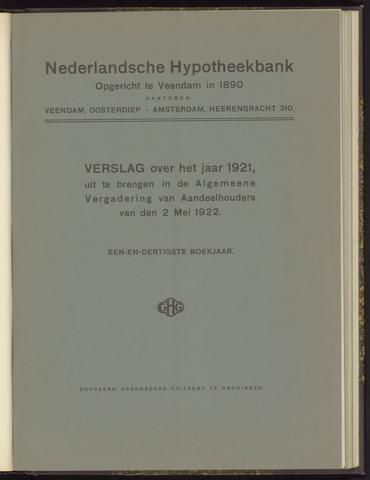 Jaarverslagen Nederlandsche Hypotheekbank 1921