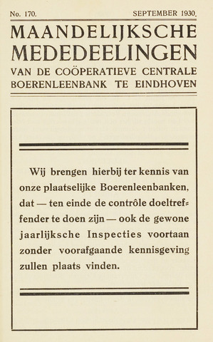blad 'Maandelijkse Mededelingen' (CCB) 1930-09-01