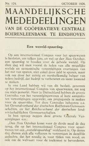 blad 'Maandelijkse Mededelingen' (CCB) 1926-10-01