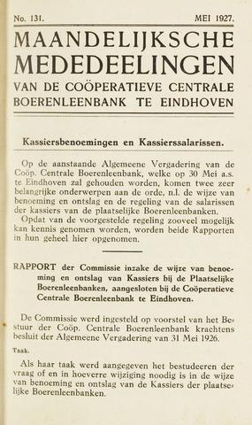 blad 'Maandelijkse Mededelingen' (CCB) 1927-05-01