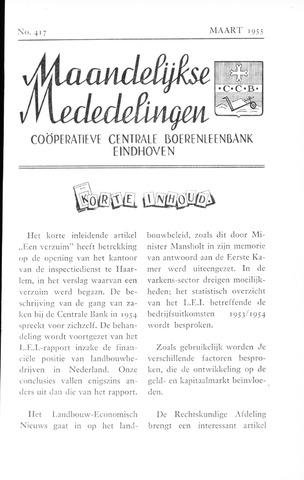blad 'Maandelijkse Mededelingen' (CCB) 1955-03-01