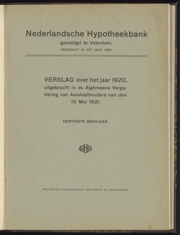 Jaarverslagen Nederlandsche Hypotheekbank 1920