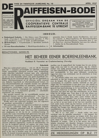 blad 'De Raiffeisen-bode' (CCRB) 1937-04-01
