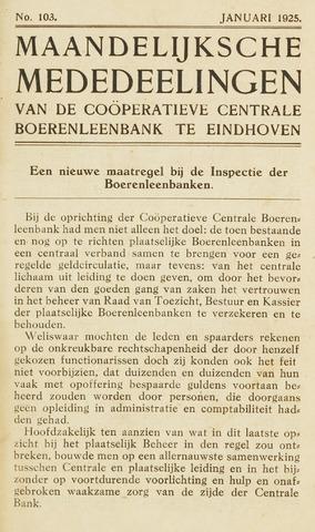 blad 'Maandelijkse Mededelingen' (CCB) 1925-01-01