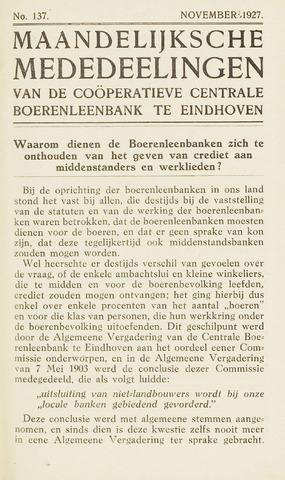 blad 'Maandelijkse Mededelingen' (CCB) 1927-11-01